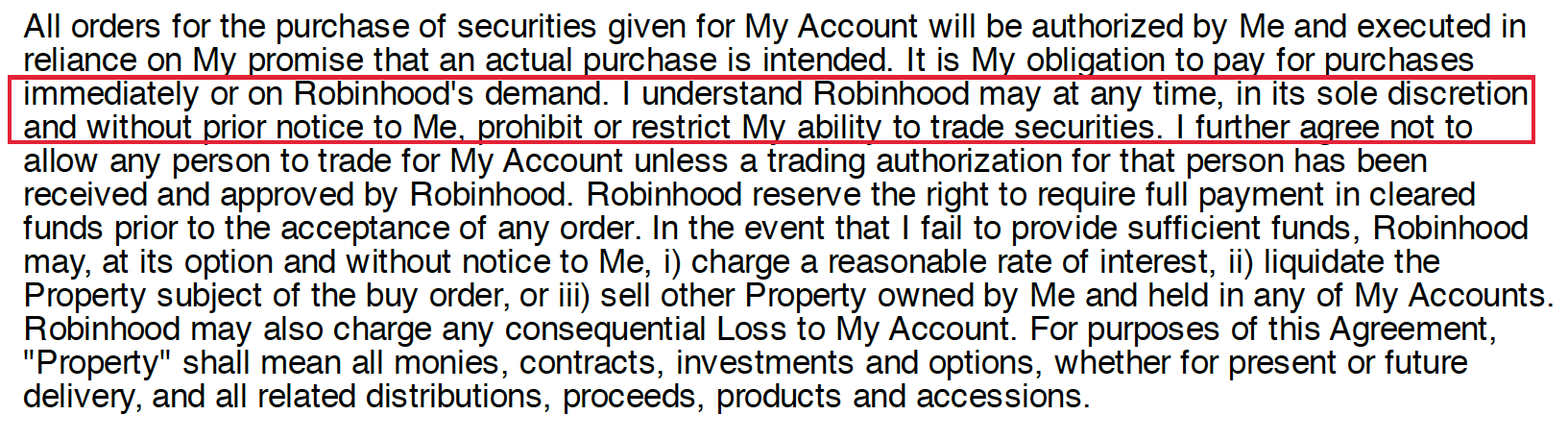 robinhood account agreement